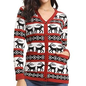 Sweaters - Women's Ugly Christmas RED Sweater Cardigan